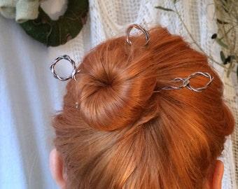 3 copper hair pins, hair forks, copper hair sticks, copper hair bun