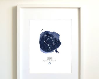 Libra constellation | Libra art | Libra zodiac | personalized gift | astrology art | zodiac art print | Libra sign | sky | indigo | blue