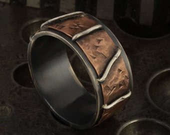 Men's Hammered Copper Ring, Man's Copper wedding band, Rustic Men's Bark Silver Copper Ring, Unique Ring, Wide ring, Gift for man RS-1190