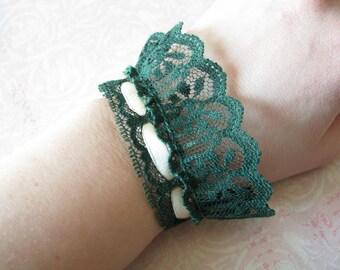 Lace cuff bracelet Gift for her Ribbon bracelet Fabric bracelet Green bracelet Wide Arm Band Shabby bracelet Victorian bracelet lace jewelry