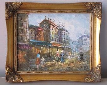 Oil Painting on Canvas SIGNED Kressley European Street Scene Gold Frame