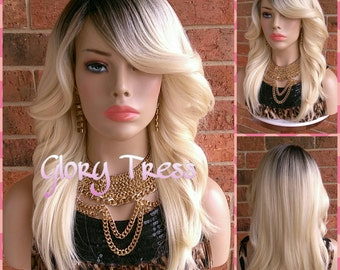 READY To SHIP // Feathered Flip Full Wig, 100% Human Brazilian Hair Blend,  Ombre Platinum Blonde wig, Dark Rooted Wig // FIERCE