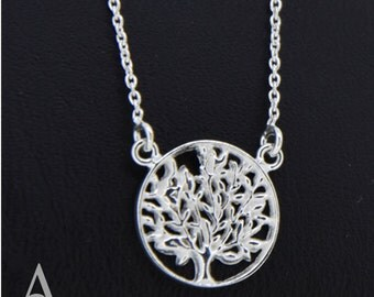 "925 Sterling Silver Necklet Neclace Tree Of Life 18""/45cm Length Atlas Charm"