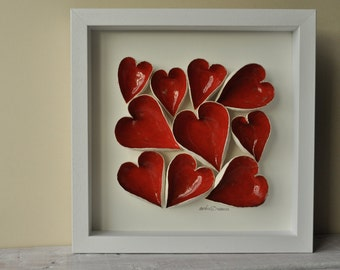 hearts, ceramic wall art, modern art wall hanging, red, Love hearts, anniversary gift, engagement gift, wedding gift, Valentines gift