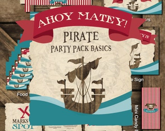 Pirate Printable Party, Pirate Birthday Printables, Pirate Birthday Decorations, Pirate Party Kit, Pirate Boy Birthday, Pirate Theme Party
