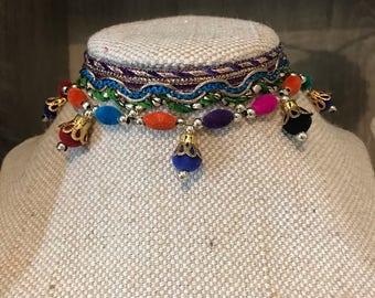 Colourful beaded tassle  statement choker  necklace boho gypsy beach