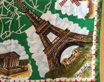 Vintage Paris France Souvenir Scarf, Parisien Sourvenir, Paris Map, Tour Eiffel, Moulin Rouge, Arc de Triomphe, L' Opera, Notre Dome