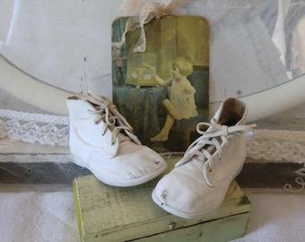 Vintage children linen boots franske danske shabby chic style JDL