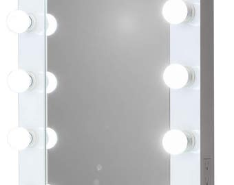 Hollywood Impact Lighted Vanity Mirror w/ LED Bulbs & Dual Outlets