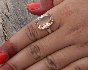 Cushion Cut Morganite Gemstone 925 Sterling Silver Ring , Handmade Artisan Birthstone  Ring 7