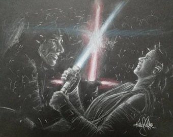 Original Charcoal Sketch of Kylo Ren and Rey