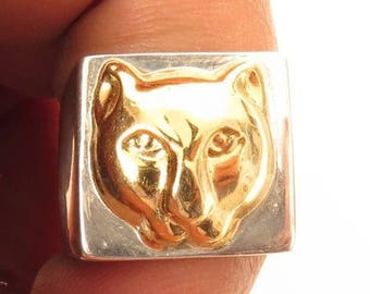 Hallmarked*Chunky Sterling Silver & 18K Solid Gold Panther Cat Pinky Ring*7.25*E517