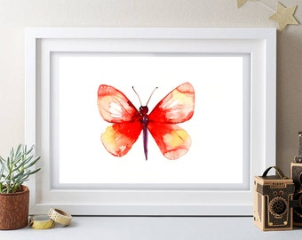 CHRISTMAS ideas RED BUTTERFLY painting,watercolor painting,large signed painting,animal paitning,animal art, gift,buy 2 get 1 free