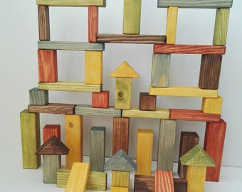 Natural coloured building blocks 47 pc