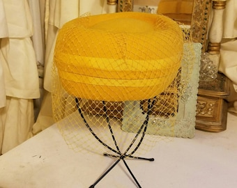 Hot Mustard - Vintage Pillbox Felt Hat with Back Bow and Matching Veil. 1960's.