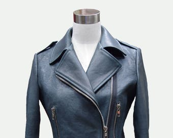 Custom made Leather Jacket - Biker Jacket - Turquoise Jacket - Short Jacket - Women Jacket - Women Leather Jacket - Lambskin Leather