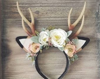 Floral Deer Headband with Antlers