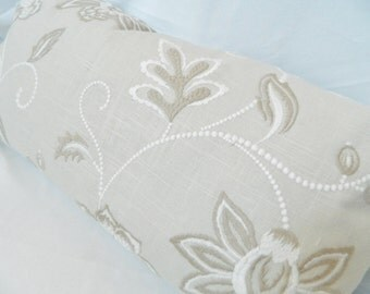 Lira-Charlotte Moss in Canvas-Decorative Lumbar pillow Cover with  Embroidered Floral on Linen Fabric / 14 x 26