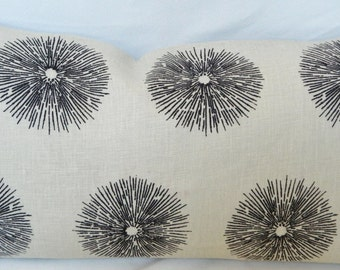 Kelly Wearstler Sea Urchin Ivory/Ebony for Ground Works / Decorative Throw Lumbar Pillow Cover / Linen