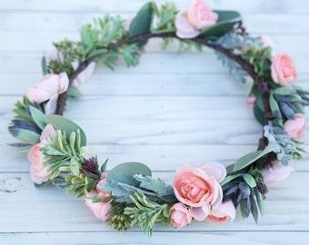 Succulent flower crown, Bohemian headpiece, Boho flower crown, Bridal Bohemian headpiece, crown, pink flower crown