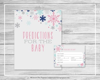 Winter Baby Shower Predictions for Baby - Printable Baby Shower Predictions for Baby - Baby It's Cold Outside Shower - Predictions - SP141