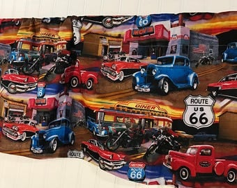 Route 66 old antique cars travel  curtain valance