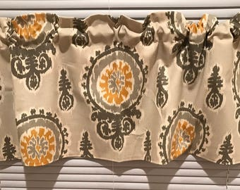 Gray with Mustard yellow Medallion Curtain Valance