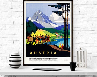 Austria Travel Poster - vintage poster, wall art, home decor, travel poster,retro, graphic design, illustration,
