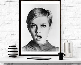 Twiggy Portrait  , print , Home Décor,  wall art, Fashion art, modern design, gift idea, Fashion photography