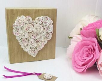 Heart decor, solid oak block with paper flowers