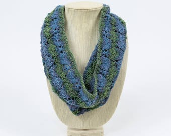 Blues & Greens Lace Hand Knit Cowl/Infinity Scarf - Falling Leaves Design