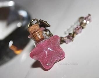 Pink Star Bottle Phone Charm - cute phone charm. handmade. glass bottle. tiny botte. glass vial. bottle charm. vial charm. Phone dust plug