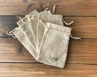 5 Small linen bags *LOVE*, Brown  linen bags, Toy bags, Money bags, Storage bags