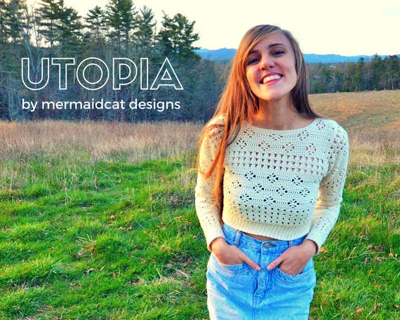 Crochet crop top sweater pattern - Utopia