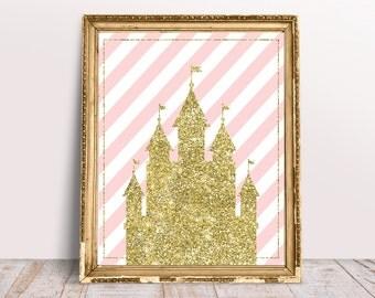 Princess Room Decor - Princess Birthday Decorations - Girl Nursery Wall Art - Fairy Tail Birthday - Disney Birthday party - Pink and gold