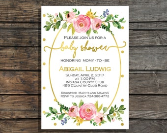Baby girl shower invitation Floral baby shower invitation Flowers Watercolor Baby shower invites Garden baby shower Shower brunch invitation
