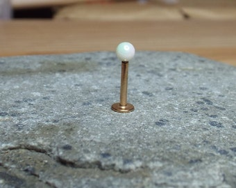 Rose Gold Plated Labret Stud Flat Back Stud 16 gauge with White Pearl Ball Tragus Bar Lip Stud
