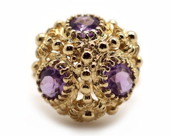 Unique  14k Yellow Gold 3ct Oval Cut Amethyst Cluster Flower Dome Band Ring Size 6.25