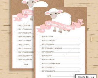 Little Lamb Wishes for Baby Shower Game Party Activity Pink DIY Printable INSTANT DOWNLOAD LL01