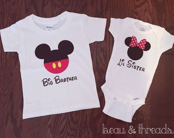 Minnie/ mickey brother/sister set