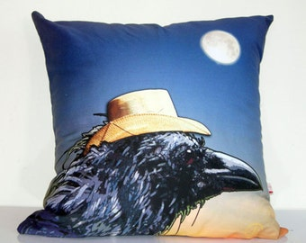 CROW, pillow cover,blackbird,animal pillow,dark blue,full moon,black crow,straw hat,dusk,eco friendly organic cotton cushion 43cm x 43cm