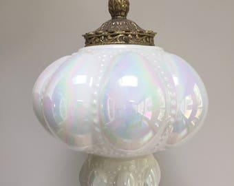 Vintage Opalescent Chandelier Light Fixture