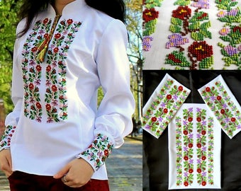 Ukrainian embroidery, embroidery, ukrainian blouse, Ukraine, embroidered blouse, bead embroidery, beads, blouse with ornament, 20% discount