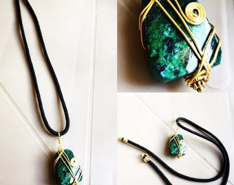 Chrysocolla Men necklace, middle chest long with gold filled wirewrap. Gift for him