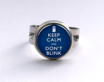 Keep Calm and Don't Blink Doctor Who quote Ring or Hair Pin