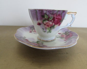 Shafford HAND PAINTED Tea cup and Saucer with lovely floral pattern on cup and saucer 4 oz. Japan