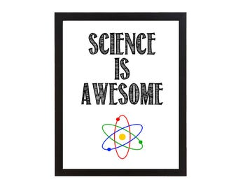 Science is Awesome Wall Art Printable - Modern Art Nursery Decor Scientist Room Decor Doctor Nurse - Instant Printable Digital Download diy