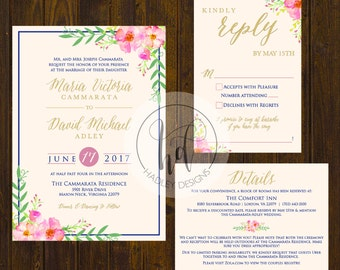 Pink Floral Wedding Invitation, Elegant Wedding Invitation,  Floral Wedding Invite, Corral Wedding Invite, Water color invitation