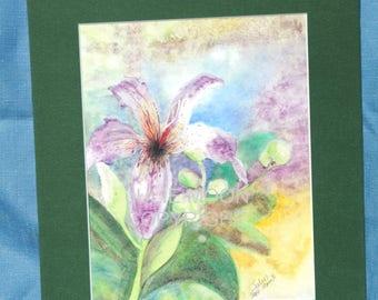 lavender lily watercolor print 8x10 with matte(5x7 print)