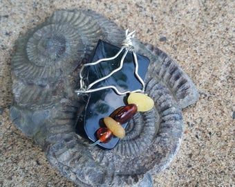 Large Whitby jet and Baltic amber pendant